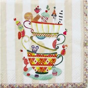 1枚バラ売りペーパーナプキン Paper+Design ドイツ Artablo カップケーキ 5 o'clock cups AT001 デコパージュ ドリパージュ|ccpopo