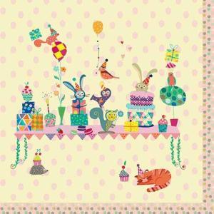 1枚バラ売りペーパーナプキン Paper+Design ドイツ Artablo 5 o'clock birthday AT002 デコパージュ ドリパージュ|ccpopo