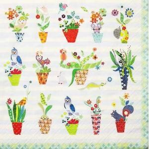 1枚バラ売りペーパーナプキン Paper+Design ドイツ Artablo フラワーポット 5 o´clock flowerpots AT003 デコパージュ ドリパージュ ccpopo