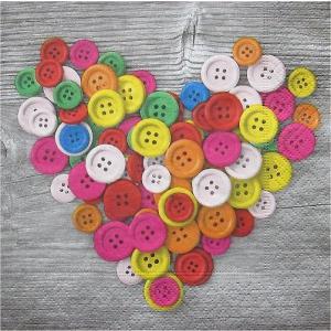 Paper+Design ドイツ ペーパーナプキン カラフルボタン Colourful buttons バラ売り2枚1セット L-200074 デコパージュ ドリパージュ|ccpopo
