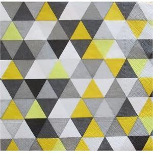 Paper+Design ドイツ ペーパーナプキン Triangles yellow/black バラ売り2枚1セット L-200122 デコパージュ ドリパージュ|ccpopo