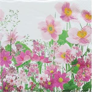 Paper+Design ドイツ ペーパーナプキン ピンク色の牧草地 Pink meadow バラ売り2枚1セット L-200241 デコパージュ ドリパージュ|ccpopo