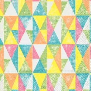 ドイツ製ペーパーナプキン Colourful geometry バラ売り2枚1セット L-200150 デコパージュ ドリパージュ|ccpopo