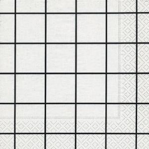 ドイツ製ペーパーナプキン Home square white/black バラ売り2枚1セット L-200172 デコパージュ ドリパージュ|ccpopo