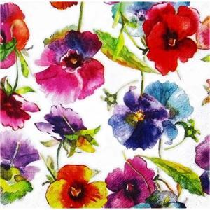 Paper+Design ドイツ ペーパーナプキン パンジーの水彩画 Watercolour pansies バラ売り2枚1セット L-200410 デコパージュ ドリパージュ|ccpopo