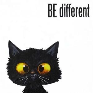 Paper+Design ドイツ ペーパーナプキン かわいい黒猫 ネコ Be different バラ売り2枚1セット L-200509 デコパージュ ドリパージュ|ccpopo