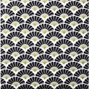 Paper+Design ドイツ ペーパーナプキン 扇 パターン ブラック 黒 お正月 和柄 Silk pattern black バラ売り2枚1セット L-200624 デコパージュ ドリパージュ|ccpopo