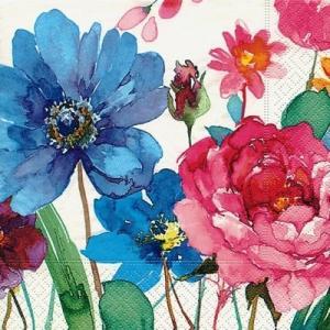 かわいいペーパーナプキン ドイツ製 ランチサイズ Watercolour flowers 2枚 L-21706 デコパージュ ドリパージュ|ccpopo