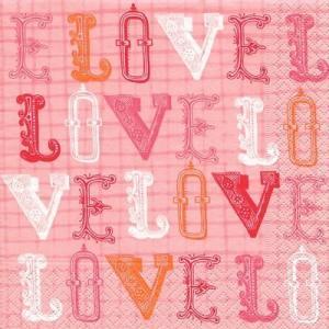 ドイツ製ペーパーナプキン Love, love, love バラ売り2枚1セット L-21797 デコパージュ ドリパージュ|ccpopo