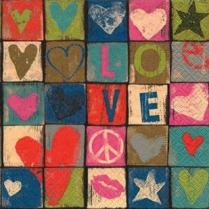 ドイツ製ペーパーナプキン Love and peace バラ売り2枚1セット L-21862 デコパージュ ドリパージュ|ccpopo