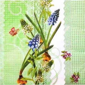 ドイツ製ペーパーナプキン 蝶の舞うムスカリ バラ売り2枚1セット L-21899 デコパージュ ドリパージュ|ccpopo