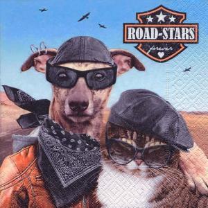Paper+Design ドイツ ペーパーナプキン ワイルドな犬と猫 Road-stars バラ売り2枚1セット L-27091 デコパージュ ドリパージュ|ccpopo
