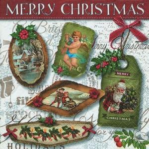 ドイツ製ペーパーナプキン Lunch napkins クリスマス Christmas labels バラ売り2枚1セット L-600041