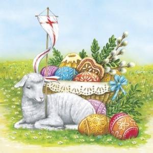 かわいいペーパーナプキン ポーランド製 ランチサイズ Easter Lamb 2枚 SDL-078300 デコパージュやハンドメイドに