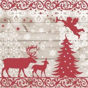 かわいいペーパーナプキン ポーランド製 ランチサイズ Christmas Forest クリスマスフォレスト 2枚 SDL-080800 デコパージュやハンドメイドに