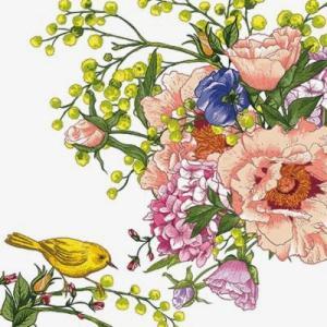 かわいいペーパーナプキン ポーランド製 ランチサイズ Bird on Flower 2枚 SDL-084700 デコパージュやハンドメイドに