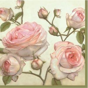 かわいいペーパーナプキン ポーランド製 ランチサイズ 美しいバラ BEAUTY ROSES 2枚 SDL-085000  デコパージュやハンドメイドに