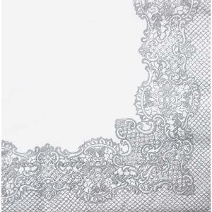 Paw ポーランド ペーパーナプキン ランチサイズ ローヤルレース 銀 シルバー Royal Lace silver バラ売り2枚1セット SDL-089208 デコパージュ ドリパージュ|ccpopo