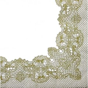 Paw ポーランド ペーパーナプキン ランチサイズ ローヤルレース 金 ゴールド Royal Lace gold バラ売り2枚1セット SDL-089209 デコパージュ ドリパージュ|ccpopo