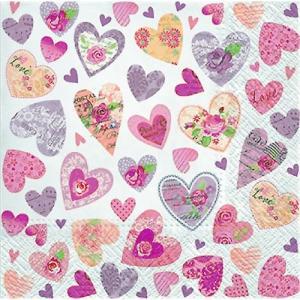 Paw パウ ポーランド ペーパーナプキン ランチサイズ ハート Romantic Hearts バラ売り2枚1セット SDL-095700 デコパージュ ドリパージュ|ccpopo