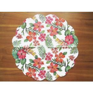Paw ポーランド ペーパーナプキン ラウンド サークル 円型 ハワイアンフラワー Hawaiian Flowers バラ売り2枚1セット SDR-090700 ラッピング|ccpopo