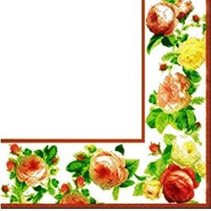 在庫処分 TETE a TETE ポーランド ペーパーナプキン ランチサイズ Rosy Frame white バラ売り2枚1セット TL318001 デコパージュ ドリパージュ ccpopo