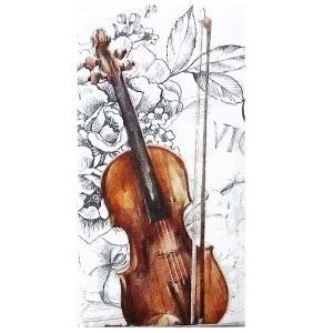 IHR ドイツ ポケットペーパーナプキン 紙ナフキン 紙ハンカチ バイオリン 音楽 花 フラワー BELLA MUSICA 21cm角 2枚1セット PT-804900|ccpopo