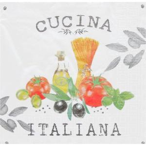 PPD ドイツ ペーパーナプキン Lunch napkins イタリアのキッチン Cucina Italiana white バラ売り2枚1セット L-133-1620 デコパージュ ドリパージュ|ccpopo