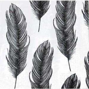 PPD ドイツ ペーパーナプキン Lunch napkins エレガントフェザー 羽 Elegant Feather バラ売り2枚1セット L-133-2111 デコパージュ ドリパージュ|ccpopo