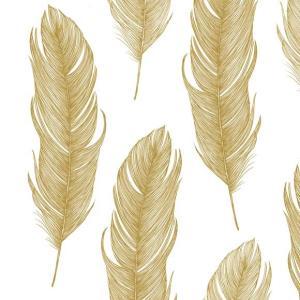 PPD ドイツ ペーパーナプキン Lunch napkins エレガントフェザー ゴールド 金 羽 Elegant Feather バラ売り2枚1セット L-133-2124 デコパージュ ドリパージュ|ccpopo