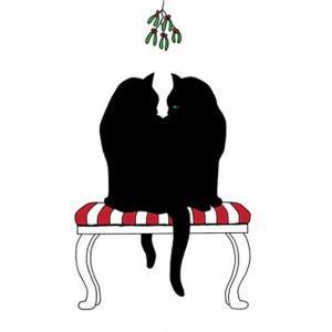 PPD ドイツ ペーパーナプキン Lunch napkins 仲良しな黒猫達 Black Cat Mistletoe バラ売り2枚1セット L-133-2250 デコパージュ ドリパージュ|ccpopo