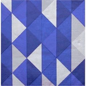 PPD ドイツ ペーパーナプキン Lunch napkins チェック 青 Miramar blue バラ売り2枚1セット L-133-2559 デコパージュ ドリパージュ|ccpopo