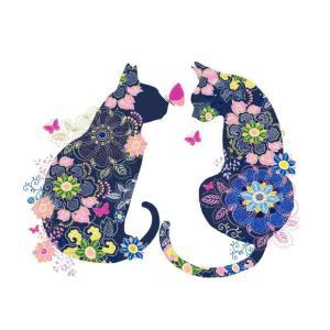 PPD ドイツ ペーパーナプキン Lunch napkins フローラルキャット 猫 Floral Cats バラ売り2枚1セット L-133-2809 デコパージュ ドリパージュ