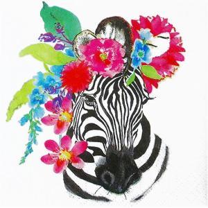 1枚バラ売り25cmペーパーナプキン PPD ドイツ 花飾り シマウマ Flora Zebra 125-2748 紙コースター デコパージュ ドリパージュ ccpopo