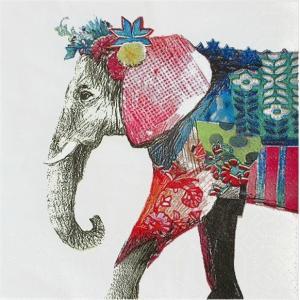 1枚バラ売り25cmペーパーナプキン PPD ドイツ カラフルな象 Regalia Elephant 125-2751 紙コースター デコパージュ ドリパージュ ccpopo