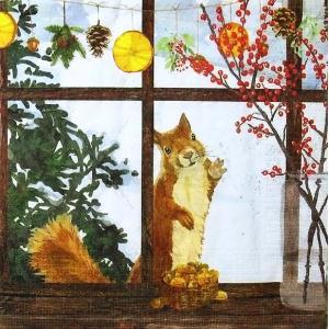 PPD ドイツ ペーパーナプキン Lunch napkins リス Hearth Time Squirrel バラ売り2枚1セット 333-2924 デコパージュ ドリパージュ|ccpopo