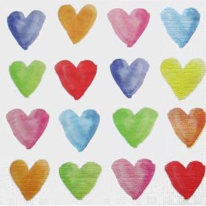 PPD ドイツ ペーパーナプキン Lunch napkins Aquarell Hearts バラ売り2枚1セット L-133-2353 デコパージュ