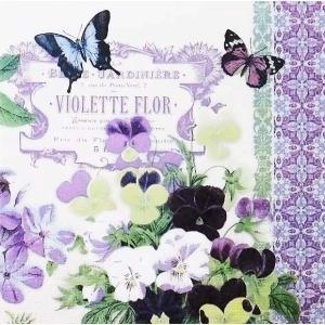 PPDドイツ ペーパーナプキン 蝶とすみれ Vintage Violets バラ売り2枚1セット L-p-7725 デコパージュ ドリパージュ|ccpopo