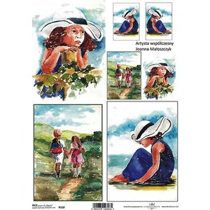 作品販売可能 ポーランド デコパージュ用ライスペーパー Rice paper A4 R0110 夏 少女 散歩 絵画|ccpopo