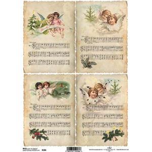 作品販売可能 ポーランド デコパージュ用ライスペーパー Rice paper A4 R0186 天使 楽譜 音楽 クリスマス|ccpopo