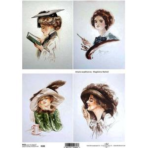 作品販売可能 ポーランド デコパージュ用ライスペーパー Rice paper A4 R0280 おしゃれな女性 モチーフ タグ|ccpopo