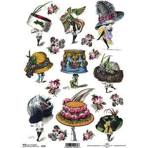 作品販売可能 ポーランド デコパージュ用ライスペーパー Rice paper A4 R0334 帽子 ファッション パーツ モチーフ|ccpopo