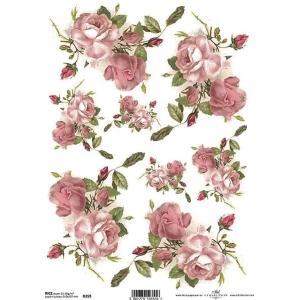 作品販売可能 ポーランド デコパージュ用ライスペーパー Rice paper A4 R0359 花 フラワー 薔薇 バラ アンティークローズ パーツ モチーフ|ccpopo