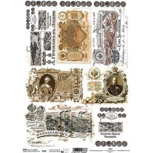 作品販売可能 ポーランド デコパージュ用ライスペーパー Rice paper A4 R0372 紙幣 パーツ モチーフ ccpopo