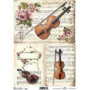 作品販売可能 ポーランド デコパージュ用ライスペーパー Rice paper A4 音楽 楽器 楽譜 音符 バイオリン R0374 ccpopo