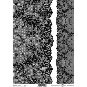 作品販売可能 ポーランド デコパージュ用ライスペーパー Rice paper A4 R0437 レース 黒 ブラック ライン|ccpopo