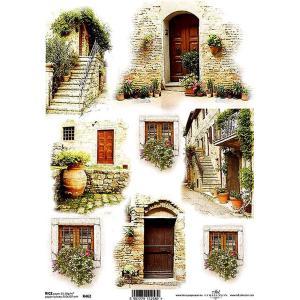 作品販売可能 ポーランド デコパージュ用ライスペーパー Rice paper A4 R0462 美しい窓辺 ドア パーツ モチーフ ccpopo