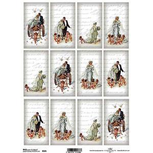 作品販売可能 ポーランド デコパージュ用ライスペーパー Rice paper A4 R0545 天使のウェディング 結婚式 パーツ タグ モチーフ|ccpopo