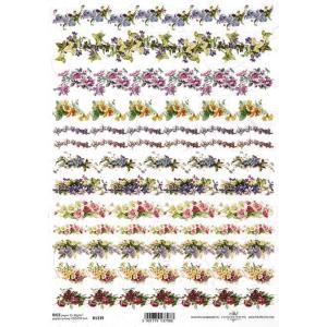 作品販売可能 ポーランド デコパージュ用ライスペーパー Rice paper A4 R1339 花 ライン ccpopo