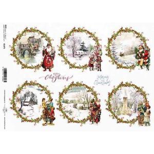 作品販売可能 ポーランド デコパージュ用ライスペーパー Rice paper A4 R1475 クリスマスサンタ タグ モチーフ|ccpopo